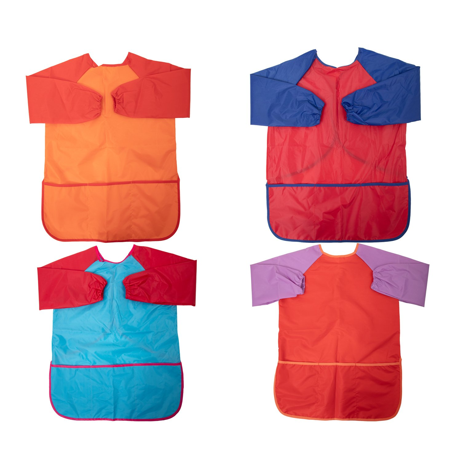Senfhome Pack of 4 Kids Waterproof Art Smocks, Children's Art Aprons Long Sleeve with 3 Pockets for 3-7 Years Old