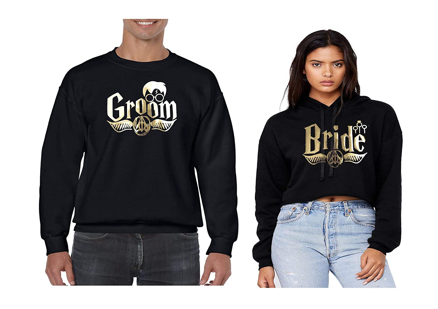 His and Hers Matching Black Sweater and Crop top Groom and Bride Couples Unisex Crewneck Sweater and Croptop Set