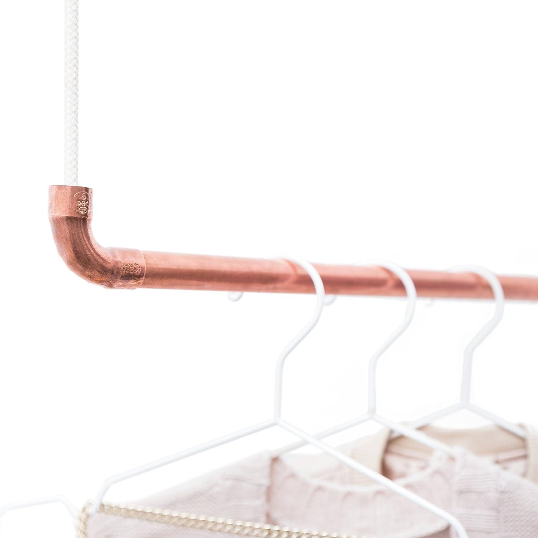 Design Kleiderstange aus Kupfer und weißem Baumwollseil – in 110