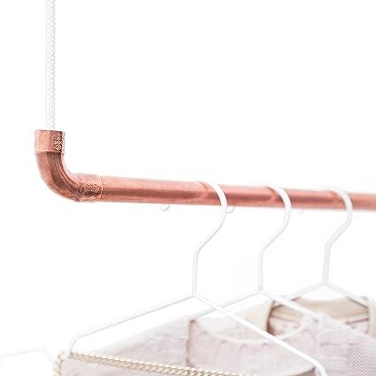 Diseño de caña y Nudo? La copperrope Cobre y cordón de algodón (Color Blanco) para fijación de Techo Colgante, Kupfer weiß, 70 cm