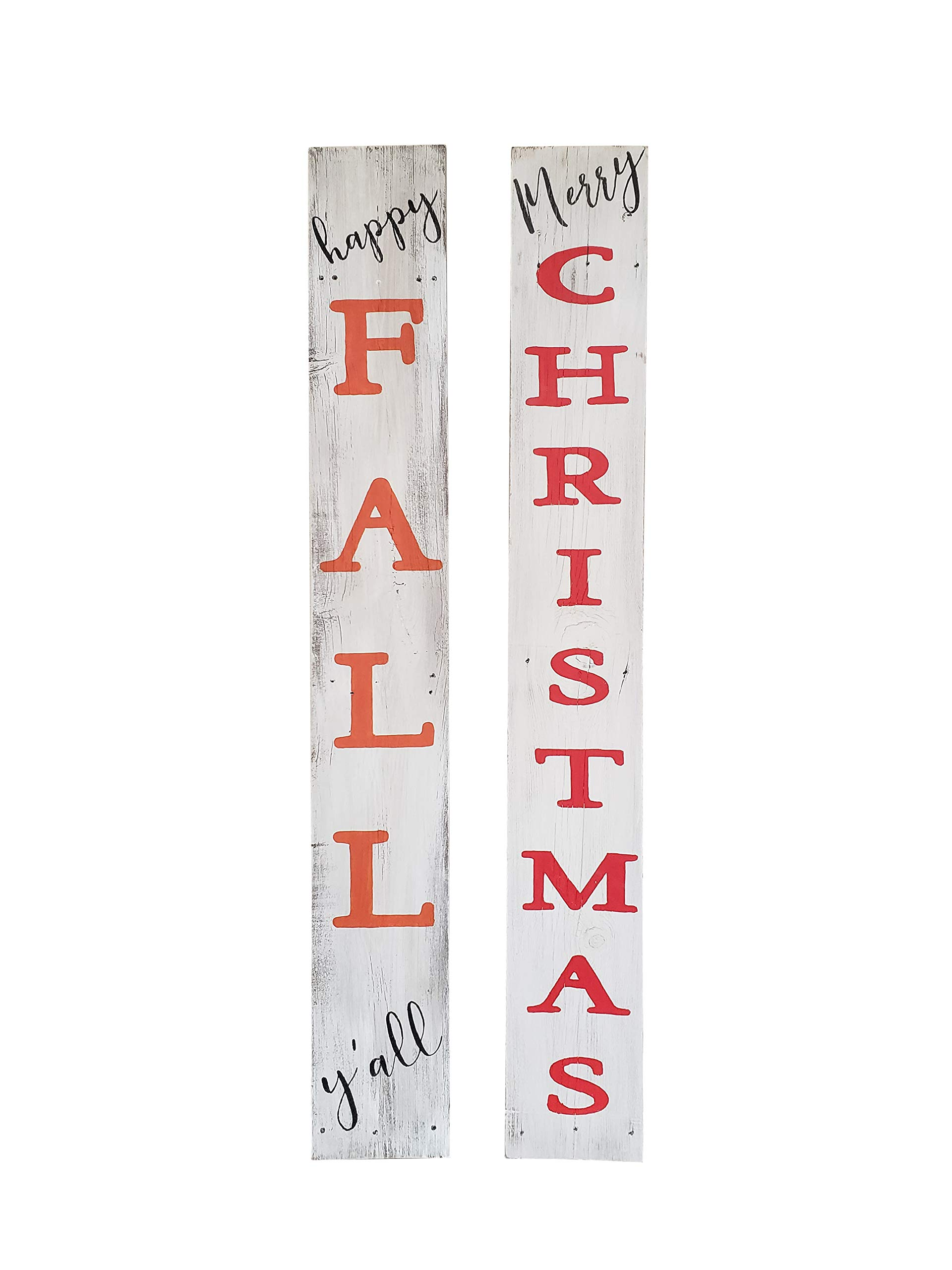 Rockin' Wood Reversible Sign for Fall and Christmas - 5 feet Tall - Perfect Front Porch Sign with Rustic Farmhouse Character-Happy Fall Y'all and Merry Christmas by Rockin' Wood