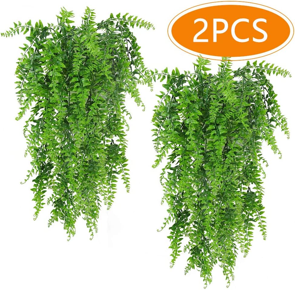 Musdoney Artificial Plants Boston Ferns Fake Vines Hanging Ivy Decor Plastic Greenery for Wall Indoor Outdoor Hanging Baskets Wedding Garland Decor (Pack of 2)