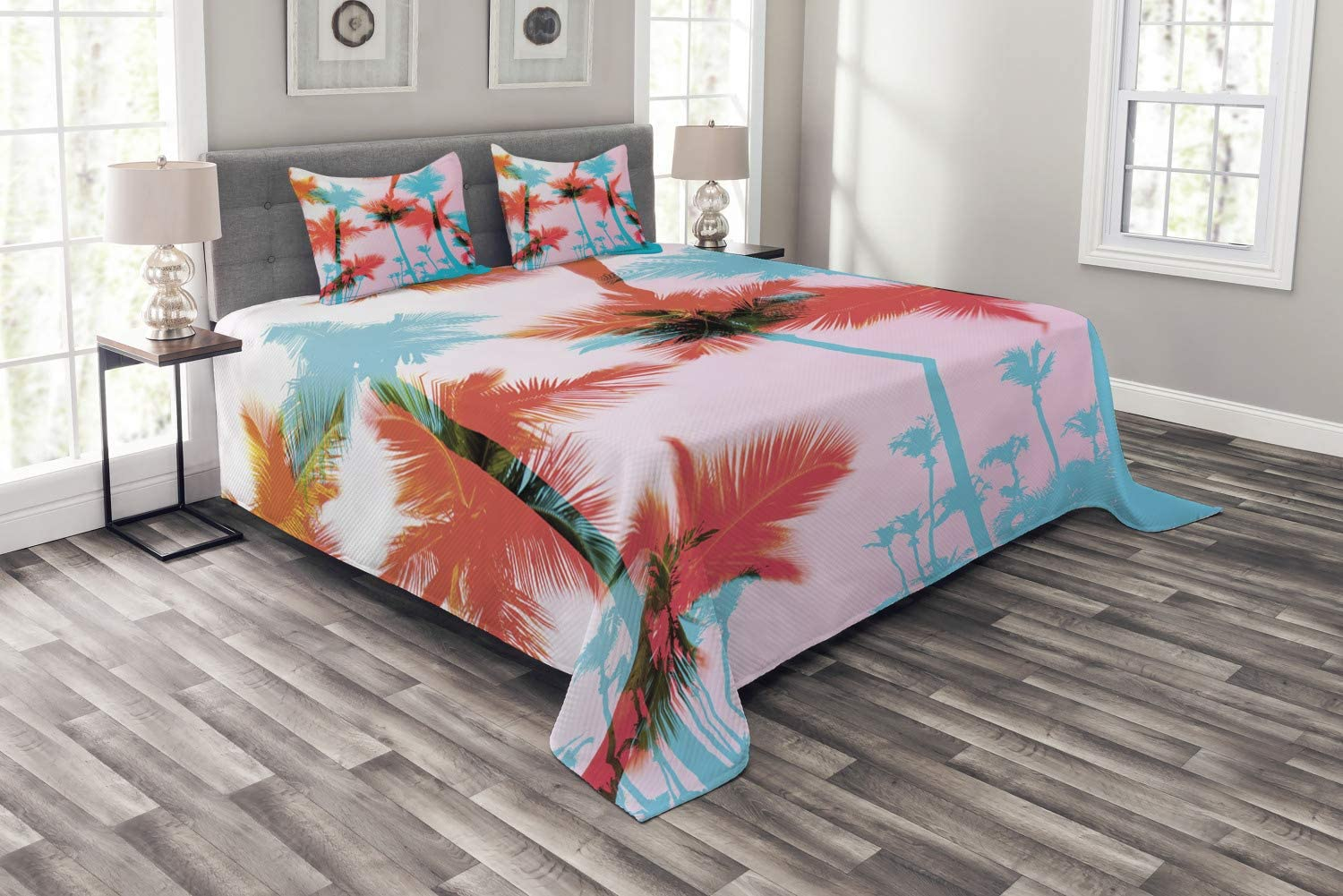 Ambesonne Tropical Bedspread, Coconut Palm Tree Silhouettes Exotic Island Summer Beach Art, Decorative Quilted 3 Piece Coverlet Set with 2 Pillow Shams, Queen Size, Dark Coral