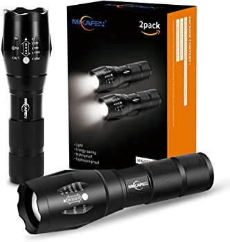 2Pk Mikafen 5-Modes Water Resistant LED Tactical Flashlights