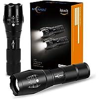 MIKAFEN 5 Modi LED Taschenlampe Extrem Hell, wasserabweisend, Handheld Taschenlampen,Schwarz (2 Pack)
