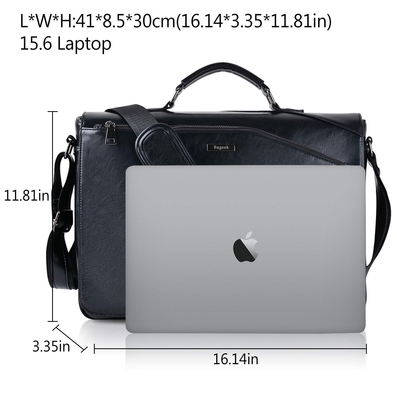 79a8d2c3d9972 Bageek Umhängetasche Herren Taschen Messenger Bag 15.6   Laptoptasche  Schultertasche Aktentasche PU Leder Herren Taschen Kunstleder Umhängetasche