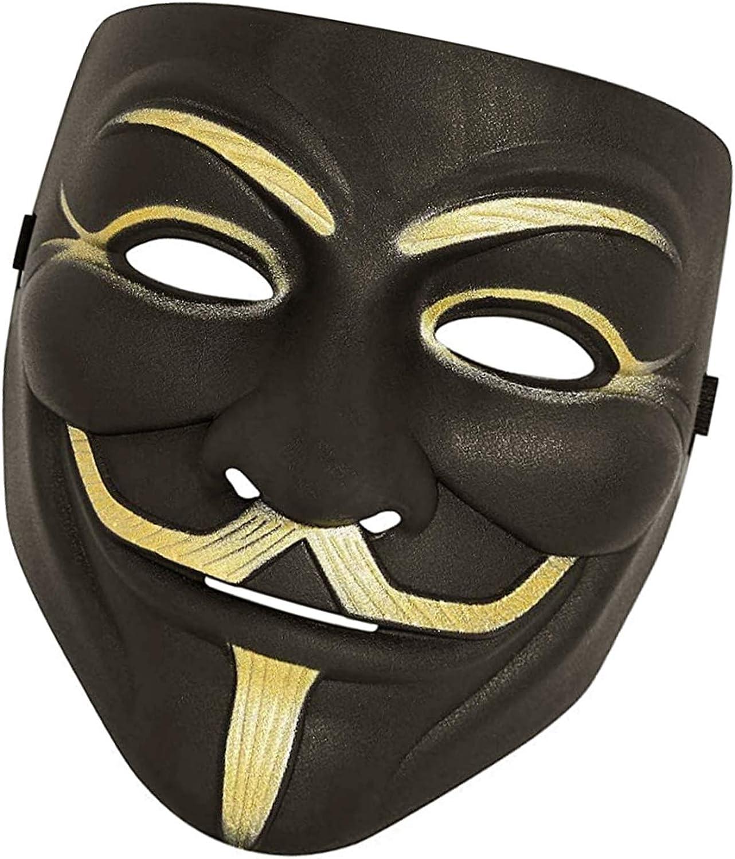 black 1 Pack Black Anonymous Face Mask for Halloween V for Vendetta DIY Toy Head Mask Mask for Costume