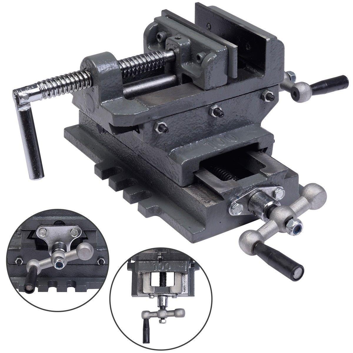 4'' Cross Drill Press Vise X-Y Clamp Machine Slide Metal Milling 2 Way HD