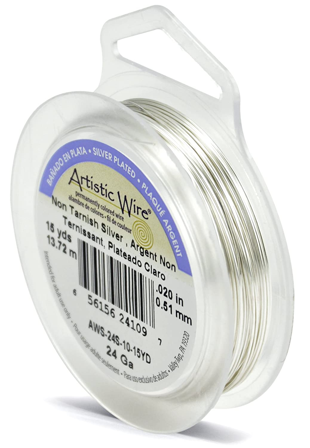 Beadalon 15-Yards Artistic 24-Gauge Tarnish Resistant Wire, Silver AWS-24S-10-15YD