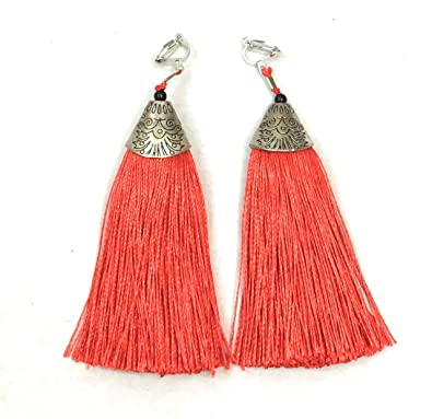 Super Long Funky Black Tassel Chandelier Dangle Party Clip On Earrings ybm3oWuLw