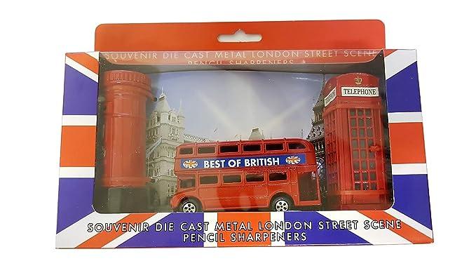 Londres calle escena - Juego de 3 sacapuntas Metal fundido/rojo caja de teléfono/Routemaster/de autobús de dos pisos caja de correos británica/fundido UK ...