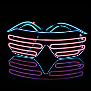 1231a62bee4 Amazon.com  Light Up EL Wire Neon Shutter Glasses Flashing LED Rave  Sunglasses for 80s
