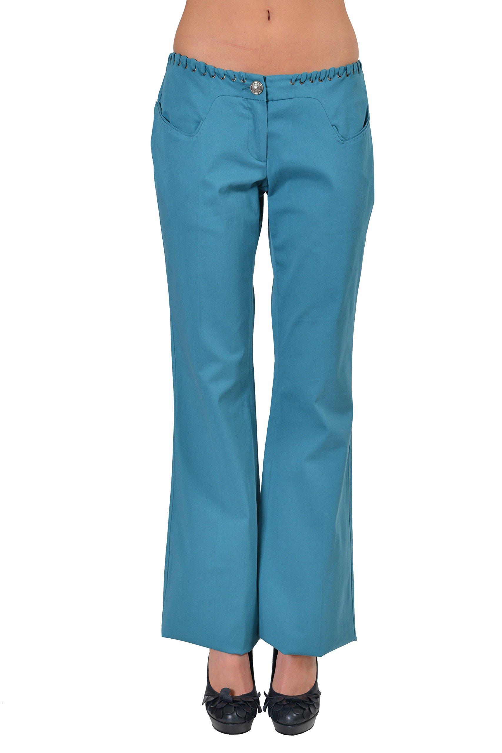 Just Cavalli Women's Blue Flat Front Boot Cut Casual Pants US 4 IT 40