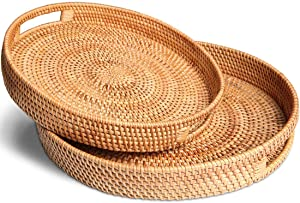 Handwoven Round Rattan Trays with Handles, Food Storage Platters, Drinks or Snacks High Wall Serving Tray (Set of 2: M+L)