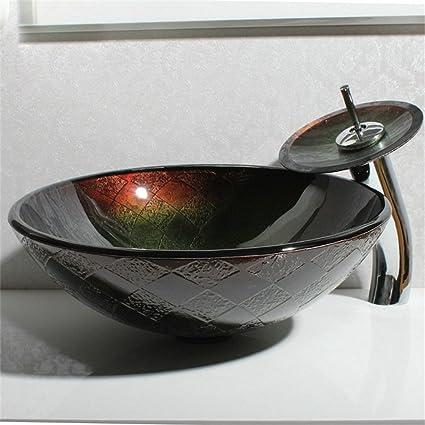 HomeLava Lavabo Vasque en Verre Trempé Noir, avec Robinet ...