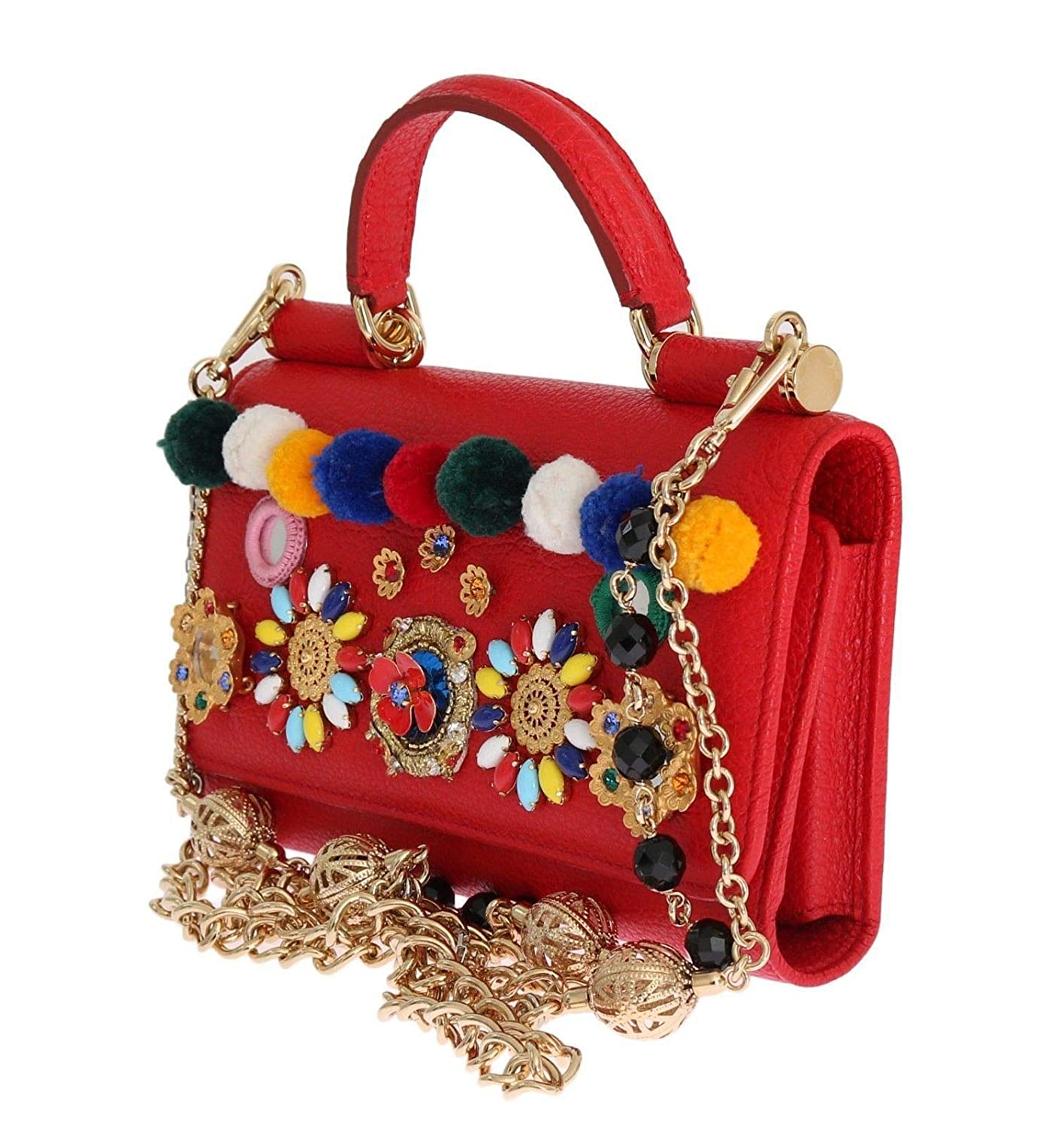 dc8ef356d87e Dolce   Gabbana - Purse VON Red Leather Crystal Carretto POM POM   Amazon.co.uk  Shoes   Bags