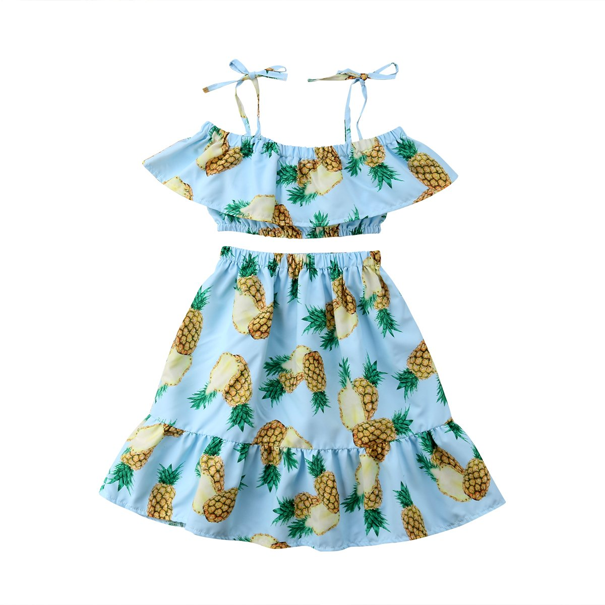 4a58f65a6f0 Amazon.com  Toddler Kids Baby Girl Off-Shoulder Tops +Flowers Long Skirts 2pcs  Outfits Summer Clothes (Blue Pineapple