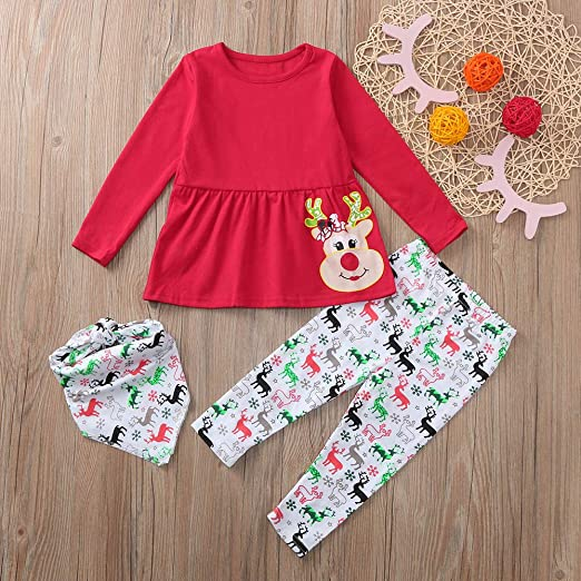 KONFA Teen Toddler Baby Girls Christmas Outfits Clothes,Cartoon Snowman Dress+Dots Trousers,for 1-5 Years Little Princess