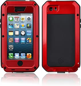 New Waterproof Shockproof Aluminum Gorilla Glass Metal Military Heavy Duty Armor Bumper Cover Case for Apple iPhone 5 5S Home Key +Fingerprint (Red)