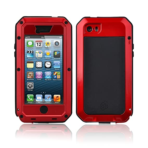 super popular 55551 4ea93 New Waterproof Shockproof Aluminum Gorilla Glass Metal Military Heavy Duty  Armor Bumper Cover Case for Apple iPhone 5 5S Home Key +Fingerprint (Red)