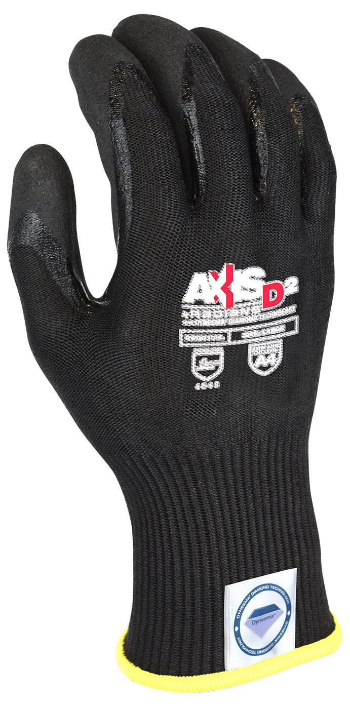 Radians RWGD108M Axis D2 Cut Protection Level A4 Glove With Black (12 Pack), Medium