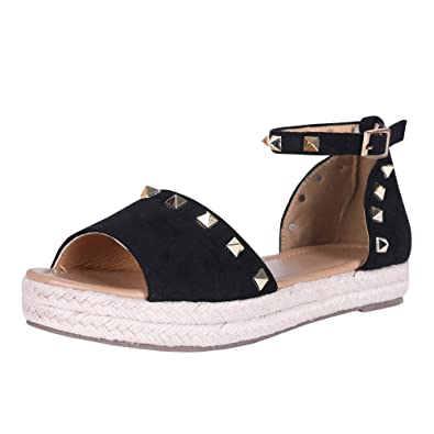 0974c7a783 Amazon.com | Liyuandian Women's Flatform Sandals Espadrille Open Toe Rivet  Platform Boho Ankle Strap Shoes | Platforms & Wedges