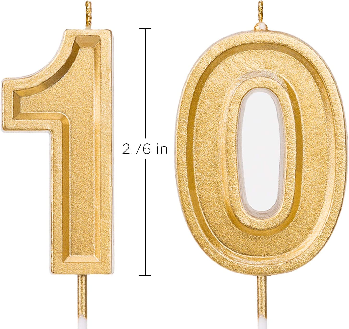 Number 70 Cake Topper Candles Party Decoration for Women or Men Gold 70th Birthday Numeral Candle
