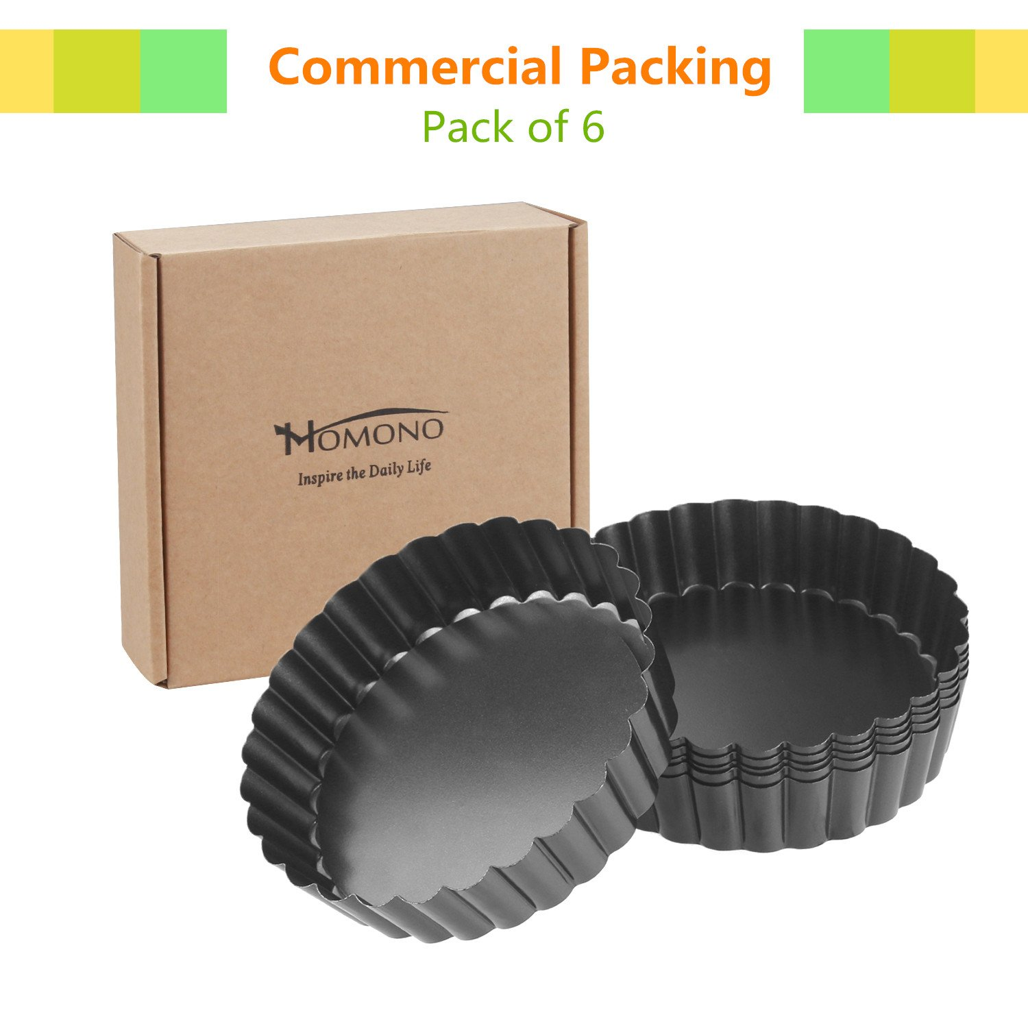 Quiche Pans, Homono Commercial Grade Non Stick Removable Bottom 5 Inch Mini Tart Pans (Pack of 6) by HOMONO (Image #4)