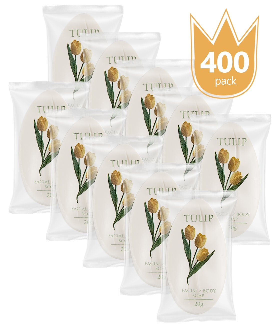 TULIP 400 Count Travel / Spa Facial Body Soap 0.7 Ounce Hotel Size In Bulk Individually Wrapped Scented With A Fresh Fragrance by Tulip