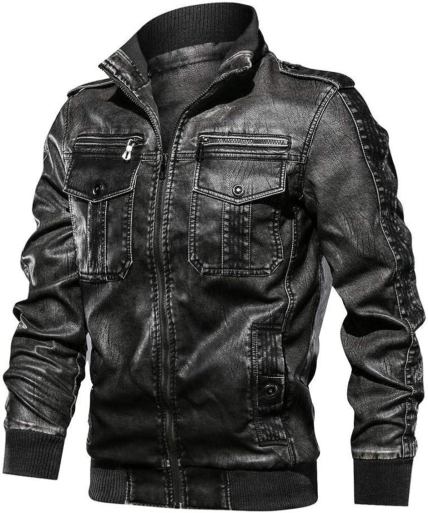 Chaqueta Imitación de Cuero para hombre Chaqueta de Cuero con Cremallera para Caballero Estilo Biker Vintage Cazadora de Hombre Abrigo de Stand Collar Slim Fit Ropa de Moto Casual Cárdigan Jacket FELZ