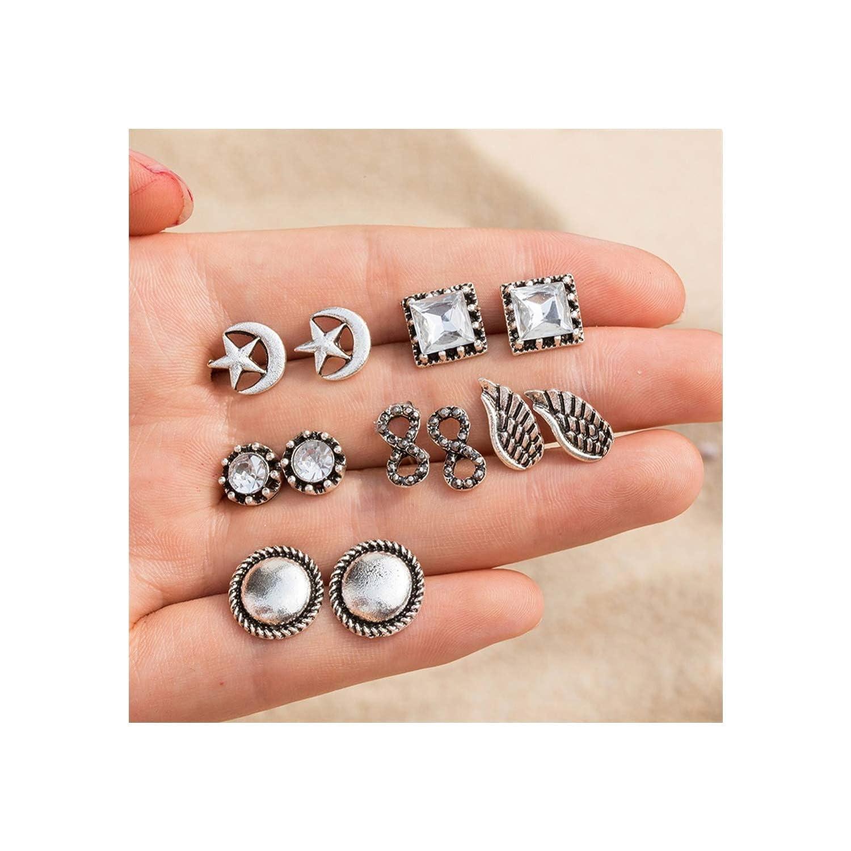 4Pairs //Set Boho Arrow Cross Moon Flower Gem Silver Earrings Set Women Punk Stud Earrings Set Personality Party Clothing Jewelry
