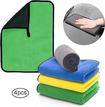 Bayetas Microfibra Limpieza Coche de Faireach para Cuidado Pulido Lavado Encerado y Limpieza del Polvo del Coche Pa/ños Microfibra Coche para Exterior y Interior 840GSM Juego de 4 Unidades