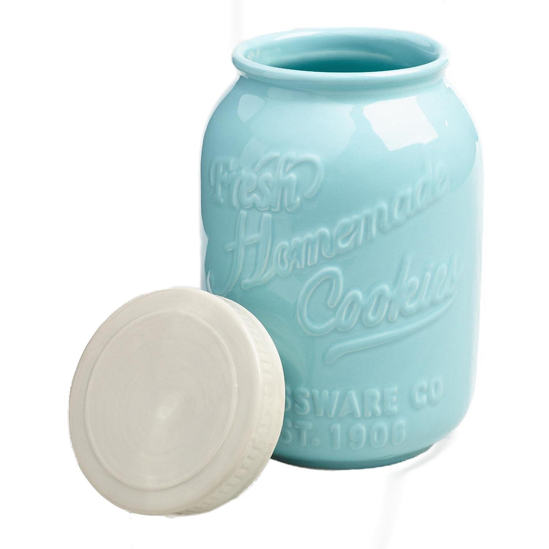 Amazon.com: Blue Ceramic Mason Cookie Jar with Air Tight Lid ...