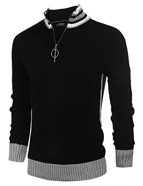 3fc928737bf COOFANDY Men s Casual Quarter Zip Polo Sweater Slim Fit Long Sleeve  Pullover Sweaters Black  Amazon.ca  Clothing   Accessories