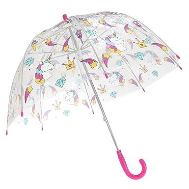 9cb5ab7287e48 X-Brella Childrens/Kids Transparent Unicorn And Rainbow Themed Stick  Umbrella