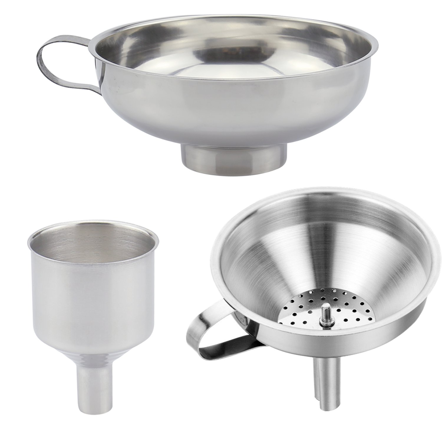3 Pieces Funnel Durable Stainless Steel Kitchen Funnels with Strainer-Ideal for Transferring of Spices Liquid Powder Bean jam Canning Dishwasher Safe Funnels Set by Techfeed