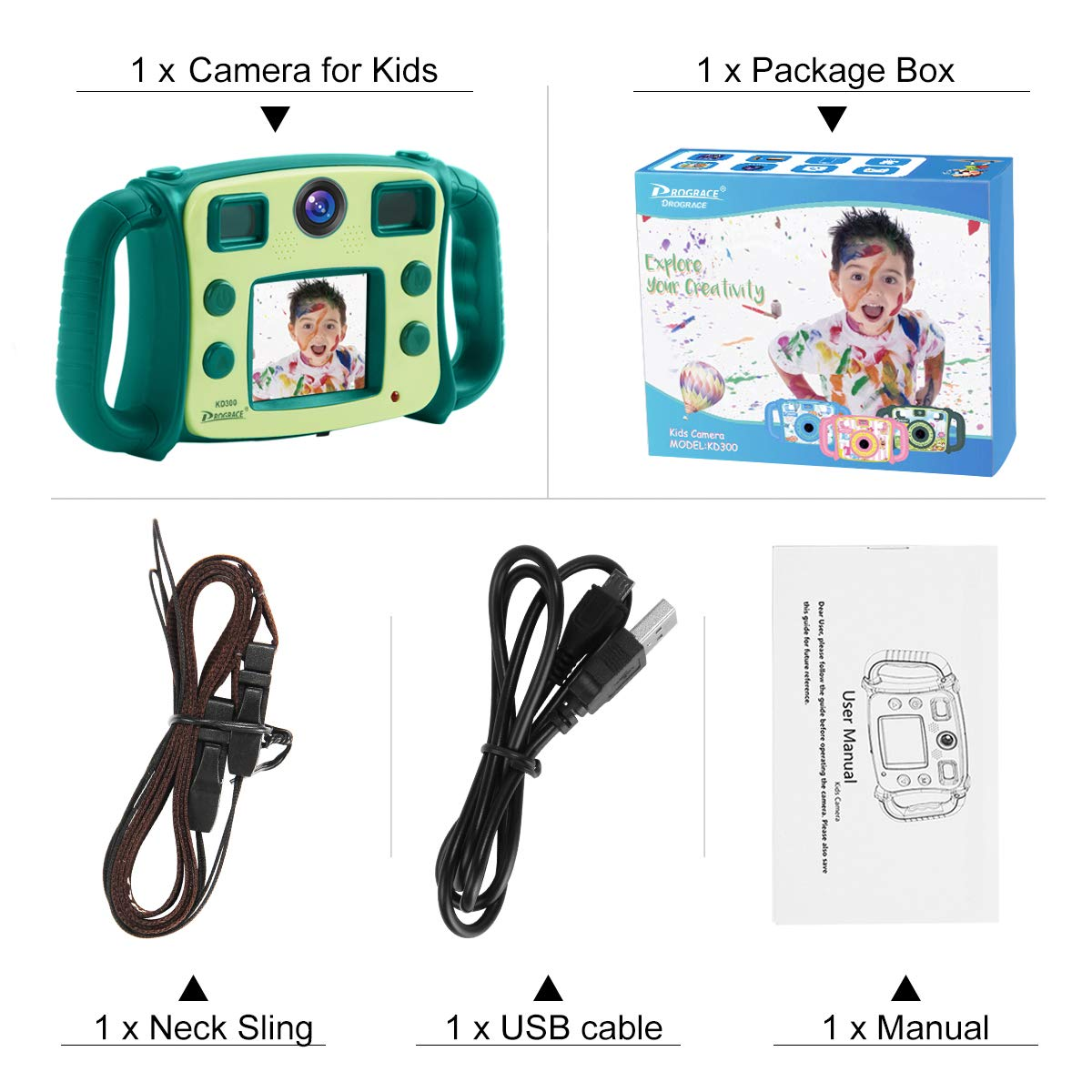 Prograce Kids Camera Dual Selfie Camera 1080P HD Video Recorder Digital Action Camera Camcorder for Boys Girls Gifts 2.0'' LCD Screen with 4X Digital Zoom and Funny Game(Green) by Prograce (Image #7)