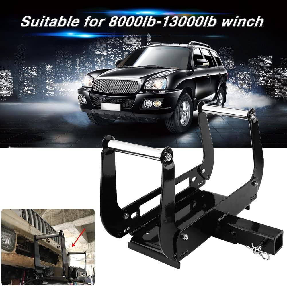 Foldable Winch Mounting Bracket Mount Plate Cradle for Truck Trailer ATV 4WD 2 Hitch Receiver Winch Mounting Plate