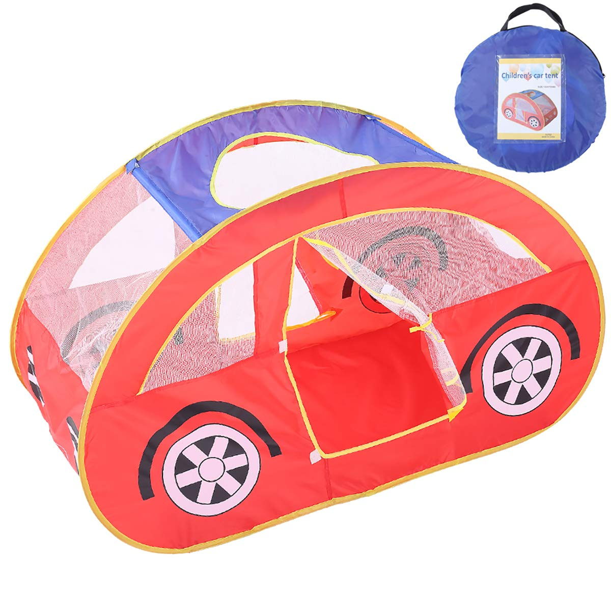 LQUYY 子供用 プレイテント 男の子 ゲーム 折りたたみ式 キャッスル 赤 海 波 ボール プール 赤 車 おもちゃ ハウス B07HQ7YLBR