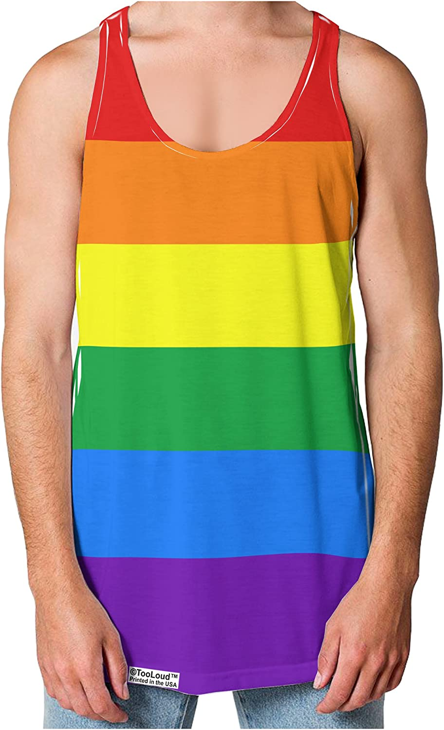 TOOLOUD Rainbow Horizontal Gay Pride Flag Loose Tank Top Dual Sided All Over Print