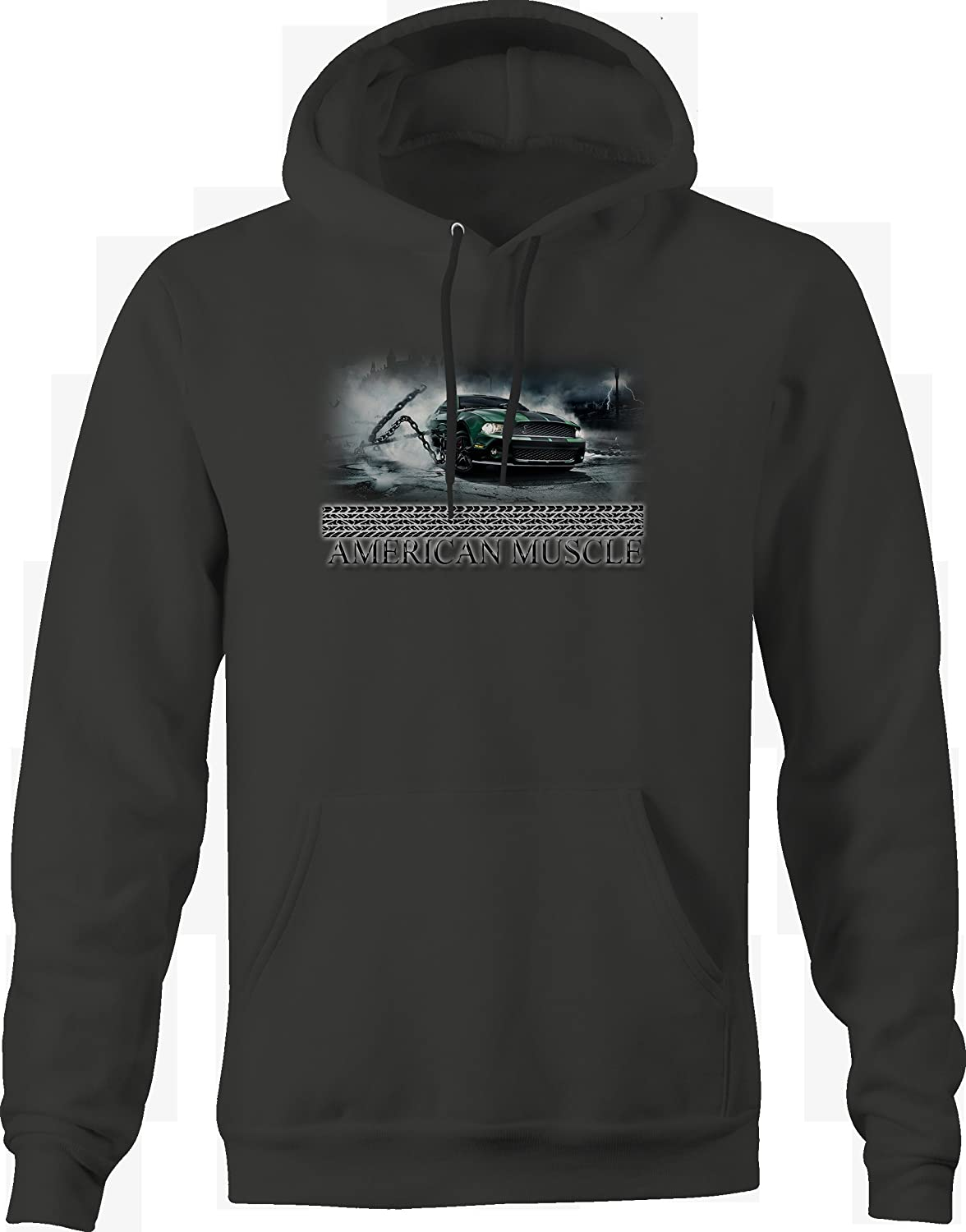 American Muscle Mustang Cobra Green Breaking Chains Graphic Hoodie for Men