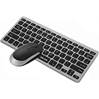 Jelly Comb Ultra Slim Keyboard and Mouse Combo, 2.4G Wireless Keyboard and Wireless Mice with USB Receiver QWERTY UK Layout for PC/Laptop/Computer, Windows/Linux, Black and Silver