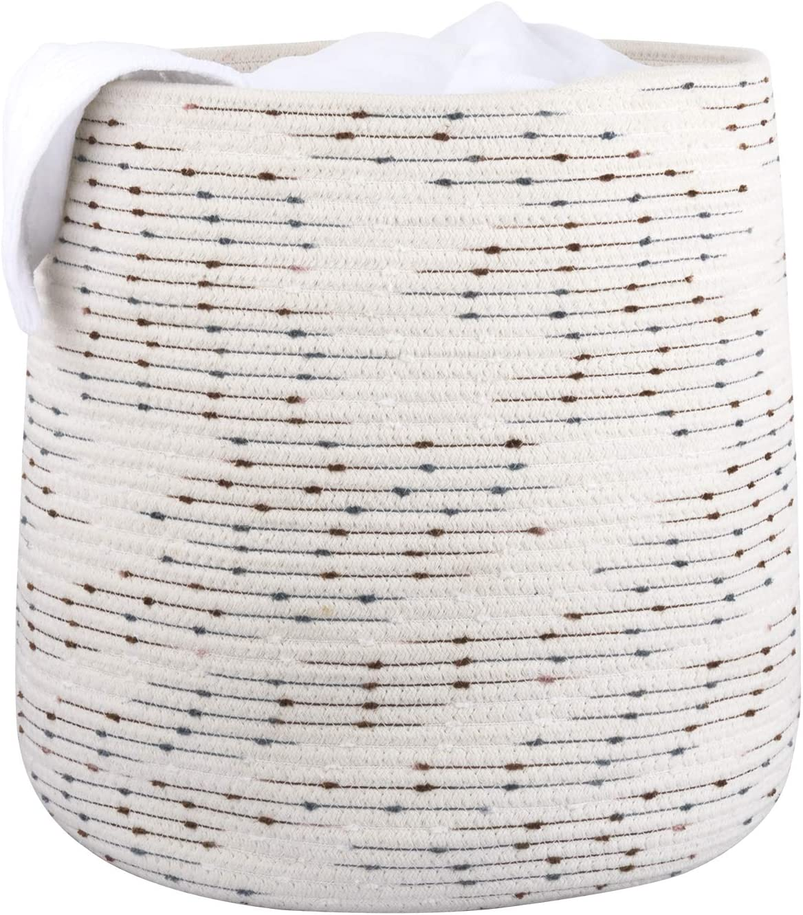 """LA JOLIE MUSE 15"""" Large Cotton Rope Storage Basket, Versatile Organization and Storage Bin Organizer, Natural and Safe for Baby and Kids, 14""""(D) x 15""""(H), White with Polka Dot"""