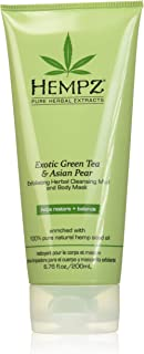 product image for Hempz Exfoliating Herbal Cleansing Mud and Body Mask, Light Green, Exotic Green Tea/Asian Pear, 6.76 Fluid Ounce