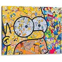 Cuadro decorativo de canvas (lienzo), Los Simpsons en Homero - Pop Art & niños, montado en bastidor de madera de 4.5 cm de profundidad (estilo galería). Tamaños adicionales disponibles. Perfecto para decorar casa u oficina, y especial para niños & mancave. 100% Garantizado.