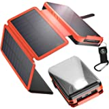 IEsafy Solar Charger 26800mAh, Outdoor Solar Power Bank with 4 Foldable Solar Panels and 2 High-Speed Charging Ports for Smar