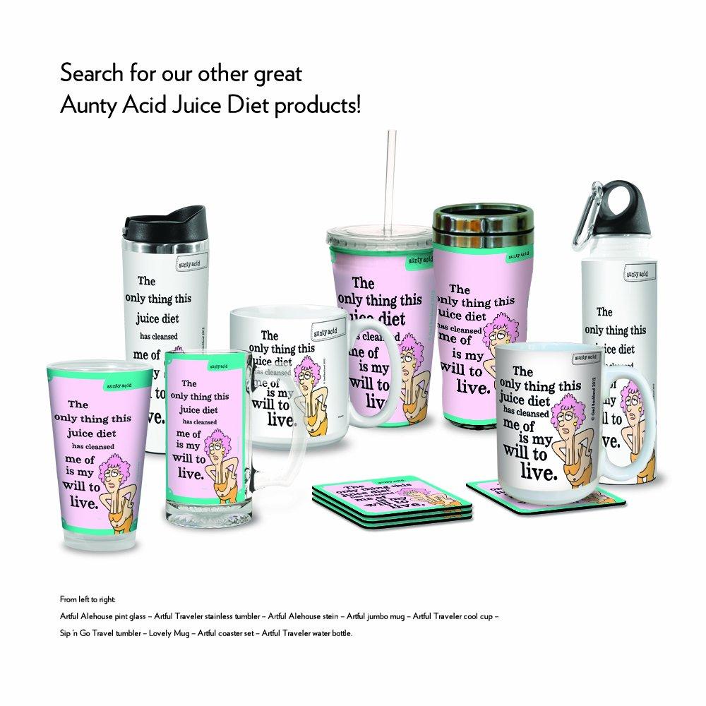 Tree-Free Greetings VB47804 Aunty Acid Artful Traveler Stainless Steel Water Bottle 18-Ounce Juice Diet Tree Free