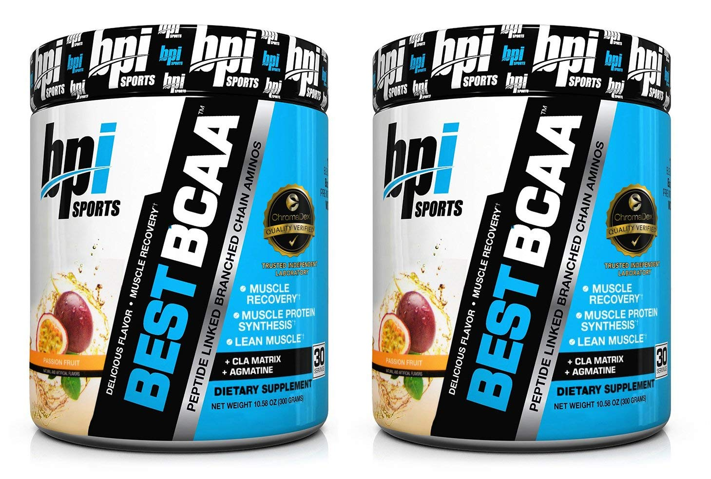 BPI Sports Best BCAA Peptide Linked Branched Chain Amino Energy Powder, 10.58oz, Pack of Two 30 Servings Passion Fruit 2 x 30svg
