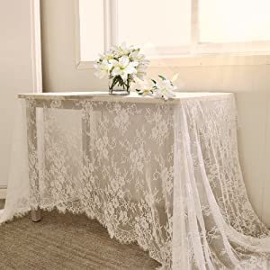 yazi 60x120 inch White Lace Table Runner Spring Summer Classical Wedding Decor, Table Runner Lace Overlay Baby & Birthday Party Rustic Wedding Party Reception Decorations