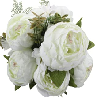 Amazon bridal white peony bouquet arts crafts sewing duovlo springs flowers artificial silk peony bouquets wedding home decorationpack of 1 spring mightylinksfo